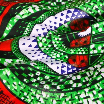 Tissu Wax africain N° 620 Cocon sur fond Vert - Par 10 cm