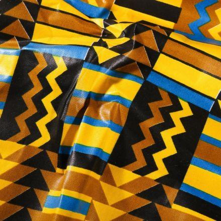 Tissu Wax africain N° 624 Cubes sur fond Jaune - Par 10 cm