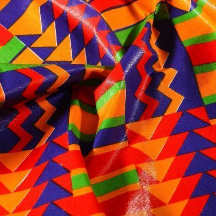 Tissu Wax africain N° 625 Cubes sur fond Orange - Par 10 cm