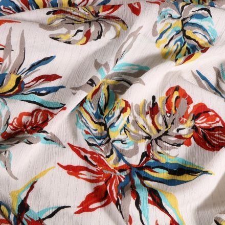 Tissu Crépon Viscose Feuilles de monstera colorées rayures lurex sur fond Blanc - Par 10 cm