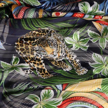 Tissu Voile de viscose Léopard et faune sauvage sur fond Noir - Par 10 cm