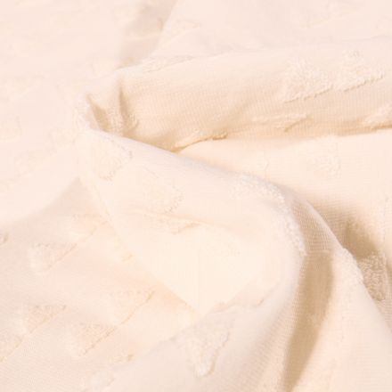 Tissu Jersey Coton Triangles en relief Helena Ecru