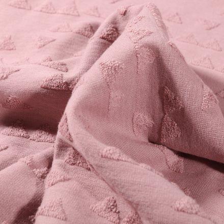 Tissu Jersey Coton Triangles en relief sur fond Rose pâle - Par 10 cm