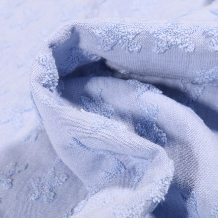 Tissu Jersey Coton Etoiles en relief Elisa Bleu clair