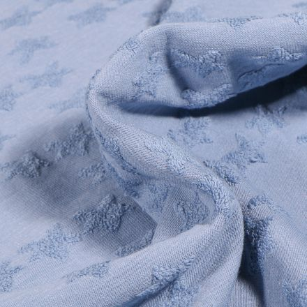 Tissu Jersey Coton Etoiles en relief Elisa Bleu