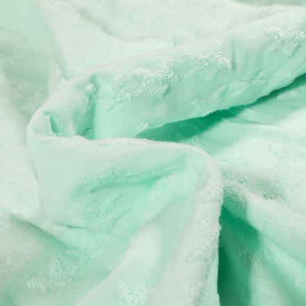 Tissu Jersey Coton Etoiles en relief Elisa Vert menthe