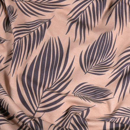 Tissu Jersey Coton Feuilles de palme sur fond Taupe - Par 10 cm