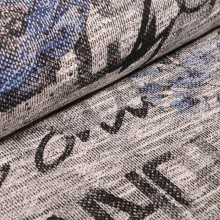 Tissu Maille Jacquard épais Fleurs bleues et lettres sur fond Gris chiné - Par 10 cm