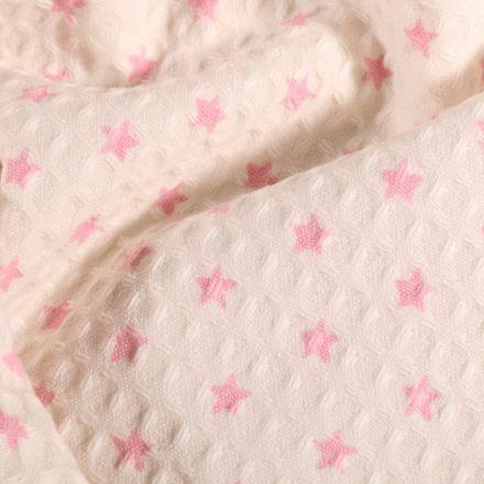 Tissu Nid d'abeille Etoiles roses sur fond Blanc cassé - Par 10 cm