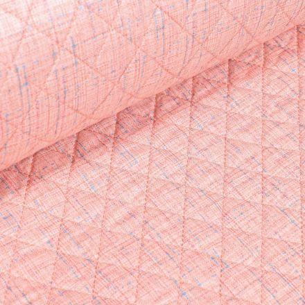 Tissu Doudoune matelassé London Chiné sur fond Rose - Par 10 cm