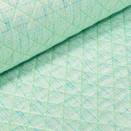 Tissu Doudoune matelassé London Chiné sur fond Vert menthe - Par 10 cm