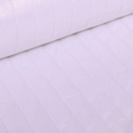 Tissu Doudoune matelassé rayé Blanc - Par 10 cm