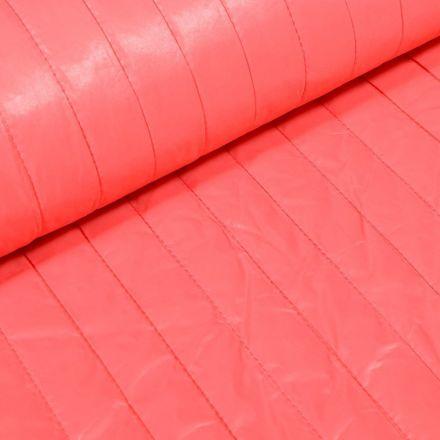 Tissu Doudoune matelassé rayé Corail - Par 10 cm