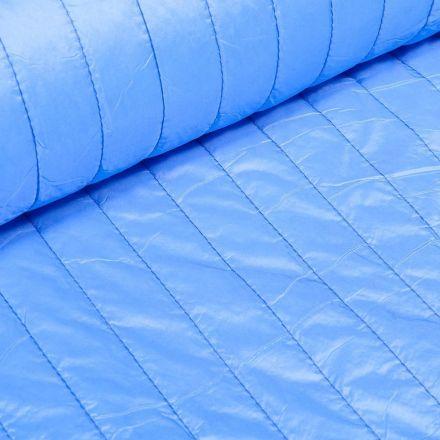 Tissu Doudoune matelassé rayé Bleu - Par 10 cm