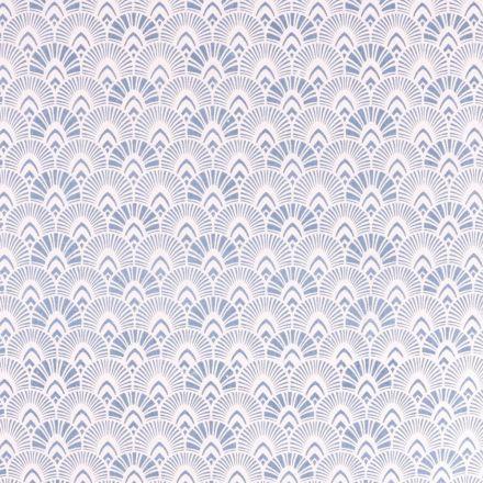 Tissu Toile de jute Grande écailles bleu sur fond Blanc cassé - Par 10 cm