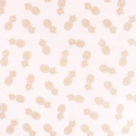 Tissu Toile de jute Ananas doré sur fond Blanc cassé - Par 10 cm