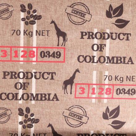 Tissu Toile de jute Motifs production de café sur fond Naturel - Par 10 cm