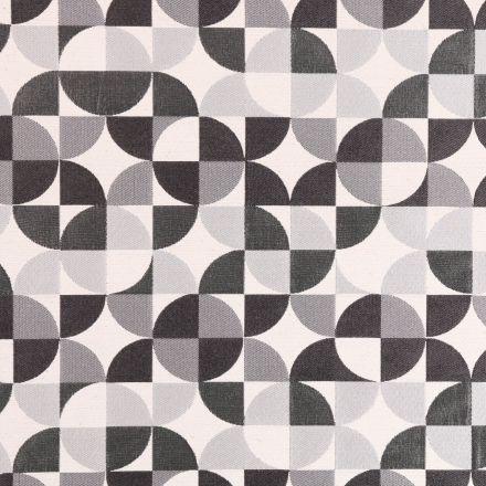 Tissu Jacquard Motifs géométriques Noirs et gris sur fond Ecru - Par 10 cm