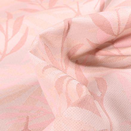 Tissu Jacquard Bamboo sur fond Rose nude