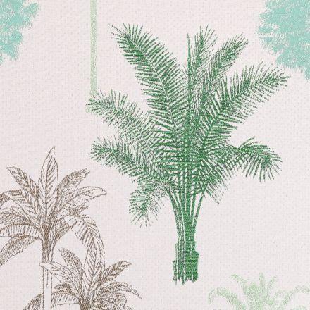 Tissu Jacquard Palmiers Verts et bruns sur fond Beige piqueté - Par 10 cm
