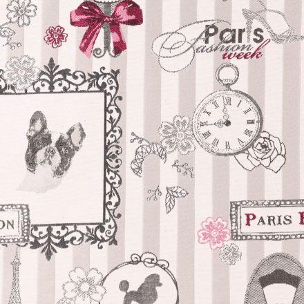 Tissu Jacquard Paris Nostalgie Rose et gris sur fond Beige - Par 10 cm