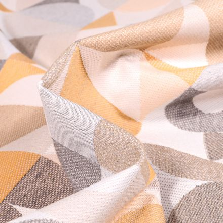Tissu Toile jacquard Iggy jaune et gris sur fond Blanc cassé