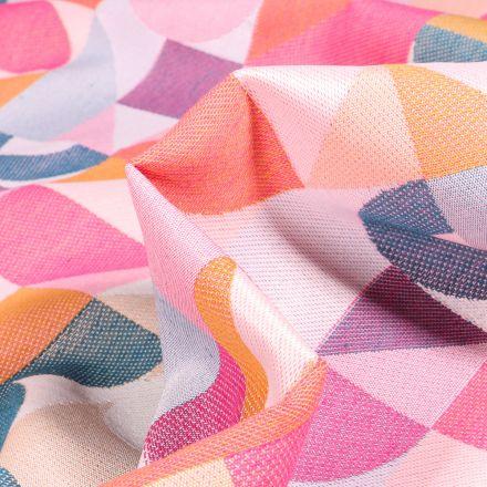 Tissu Toile jacquard Iggy multicolore sur fond Blanc cassé
