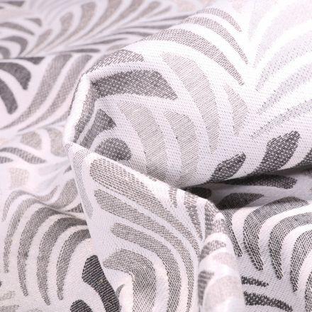 Tissu Toile jacquard Janis gris sur fond Blanc