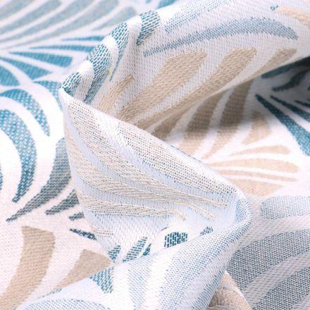 Tissu Toile jacquard Janis bleu sur fond Blanc