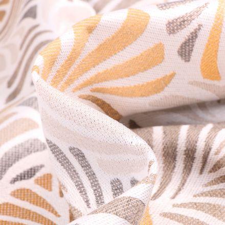 Tissu Toile jacquard Janis jaune et beige sur fond Blanc