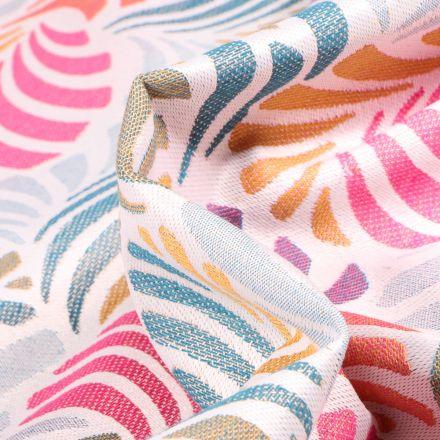 Tissu Toile jacquard Janis multicolore sur fond Blanc