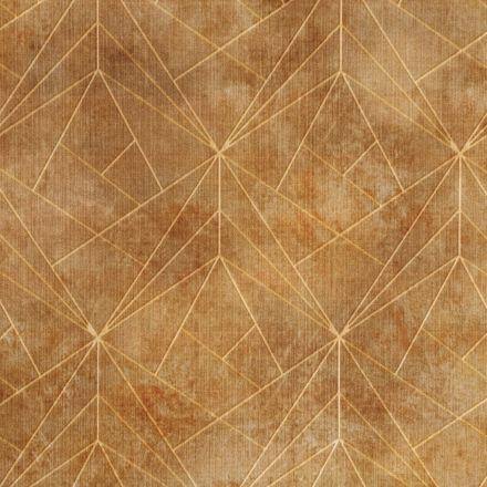 Tissu Velours ras tout doux Damier graphique sur fond Ocre - Par 10 cm