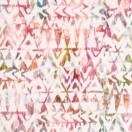 Tissu Velours ras tout doux Motifs ethniques Multicolores sur fond Blanc - Par 10 cm