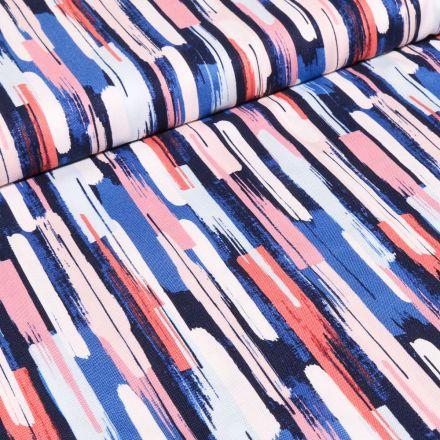 Tissu Coton Dashwood Studio Rayures colorées sur fond Bleu
