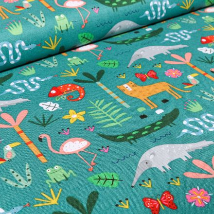 Tissu Coton Dashwood Studio Animaux et végétations sur fond Vert émeraude