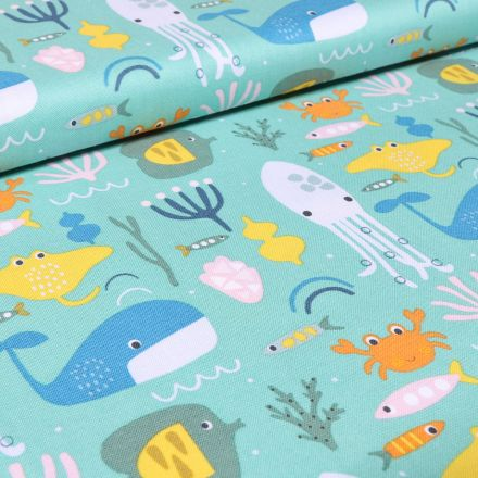 Tissu Coton Dashwood Studio Animaux marins sur fond Bleu lagon