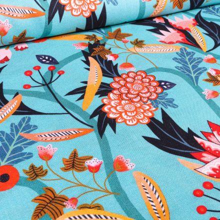 Tissu Viscose Dashwood Studio Végétations tropical sur fond Bleu turquoise
