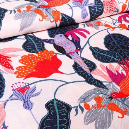 Tissu Viscose Dashwood Studio Végétations tropical sur fond Blanc cassé