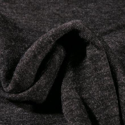 Tissu Maille Jersey  Helena chiné sur fond Noir - Par 10 cm