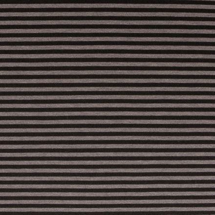 Tissu Néoprène Rayé Noir sur fond Gris - Par 10 cm