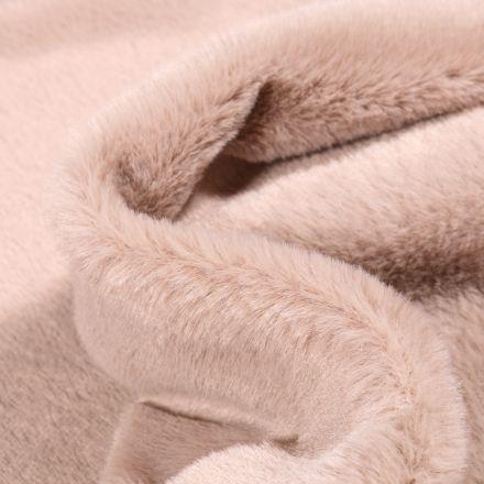 Tissu Fausse fourrure Ultra douce  Bear sur fond Beige sable