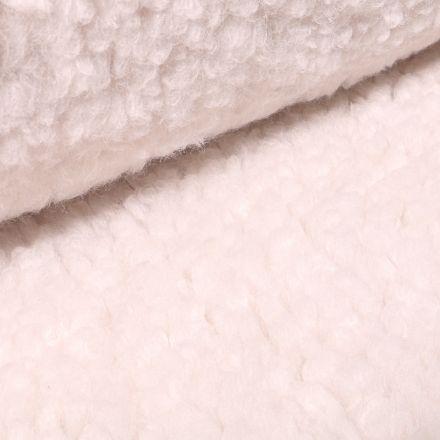 Tissu Fausse fourrure bouclette XL Blanc cassé