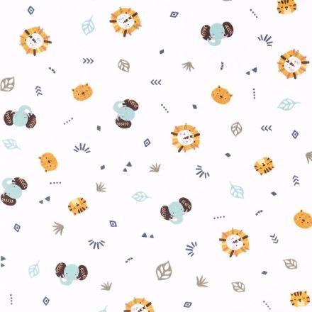 Tissu Popeline Imprimée LittleBird Eléphants et Lions Moutarde et verts sur fond Blanc - Par 10 cm