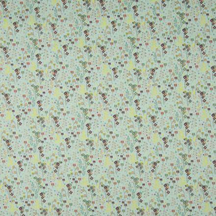 Tissu Popeline de coton Petites Fleurs colorées sur fond Vert menthe clair - Par 10 cm