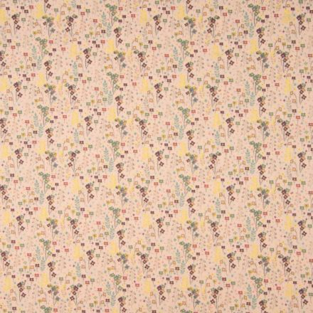 Tissu Popeline de coton Petites Fleurs colorées sur fond Pêche - Par 10 cm