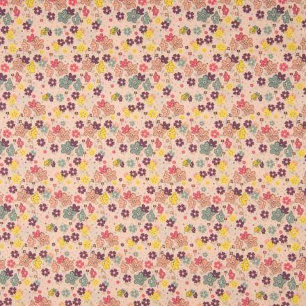 Tissu Popeline de coton Fleurs colorées sur fond Pêche - Par 10 cm