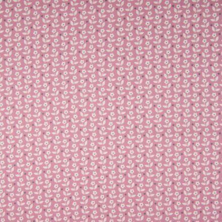 Tissu Coton imprimé Fleurs blanches et pois gris sur fond Rose - Par 10 cm