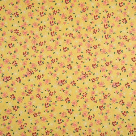 Tissu Coton imprimé Fleurs rose et rouges sur fond Jaune - Par 10 cm