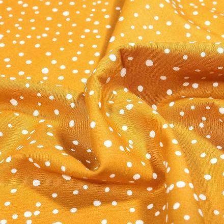 Tissu Coton imprimé Petits pois irréguliers sur fond Ocre - Par 10 cm