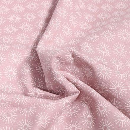 Tissu Coton imprimé Soleils stylisés sur fond Rose pâle - Par 10 cm